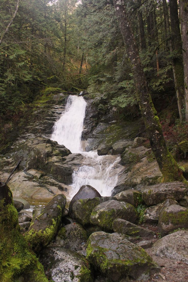 The rushing water of Crystal Falls in Coquitlam, BC