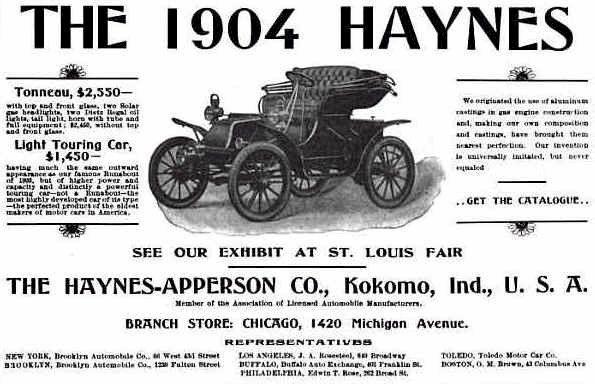1904 haynes automobile advertisement