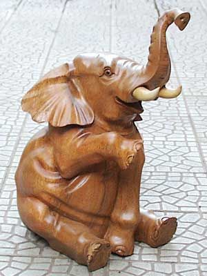Looks like Bertha the Happy Elephant from Disneyland.  You can have your own.   Elephant wood carving - Woodworking Supplies from Bali