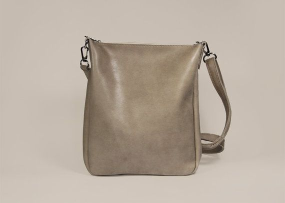 "Leather Crossbody Purse with Zipper ""Joey Kraft""/ Small Beige Bag for iPad mini"