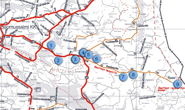 Raatteen tien kartta