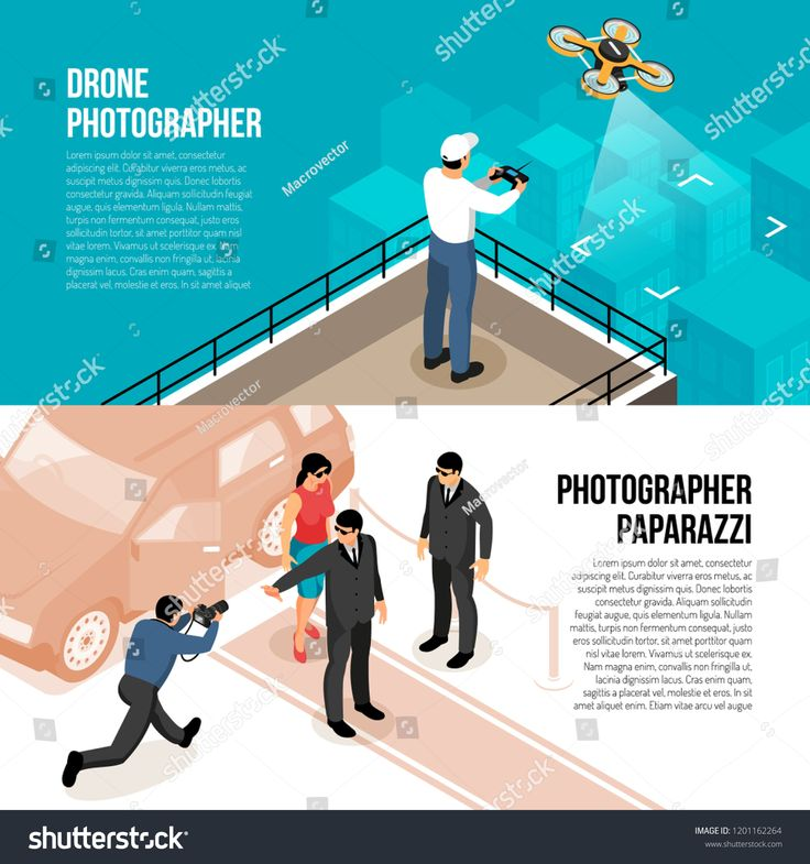 Professional photographer 2 horizontal isometric banners with remote controlled drone technology and celebrity shooting paparazzi vector illustration …