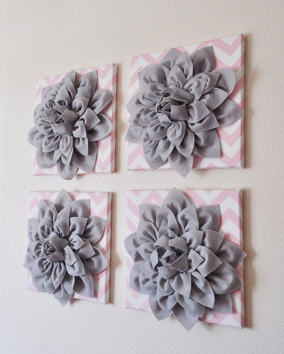 Wall Hanging -SET OF FOUR Gray Dahlia Flowers on Light Pink and White Chevron 12 x12 Canvases Wall Art- 3D Felt Flower via Etsy