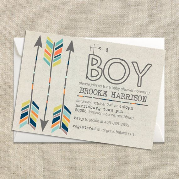 baby boy shower invitation fall colors tribal aztec and arrows digital printable file