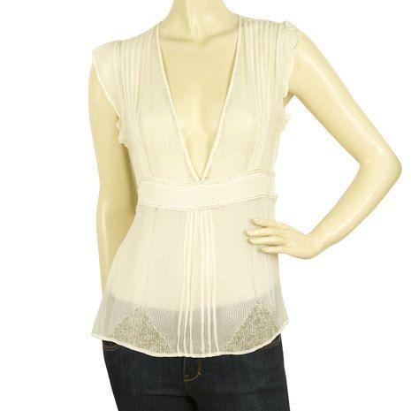 DAY Birger and Mikkelsen Sheer Beaded White Tunic Top V neck Vest sz 36