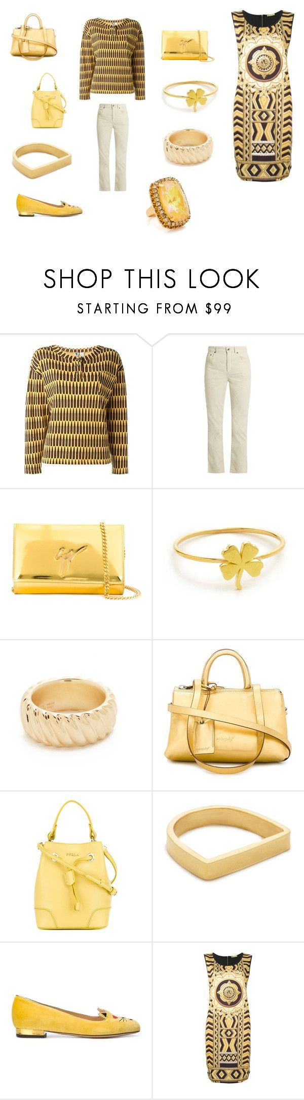 """POLYVORE FASHION"" by emmamegan-5678 ❤ liked on Polyvore featuring Stephen Sprouse, Chloé, Giuseppe Zanotti, Jennifer Meyer Jewelry, Soave Oro, Marsèll, Furla, Maya Magal, Charlotte Olympia and Versace"