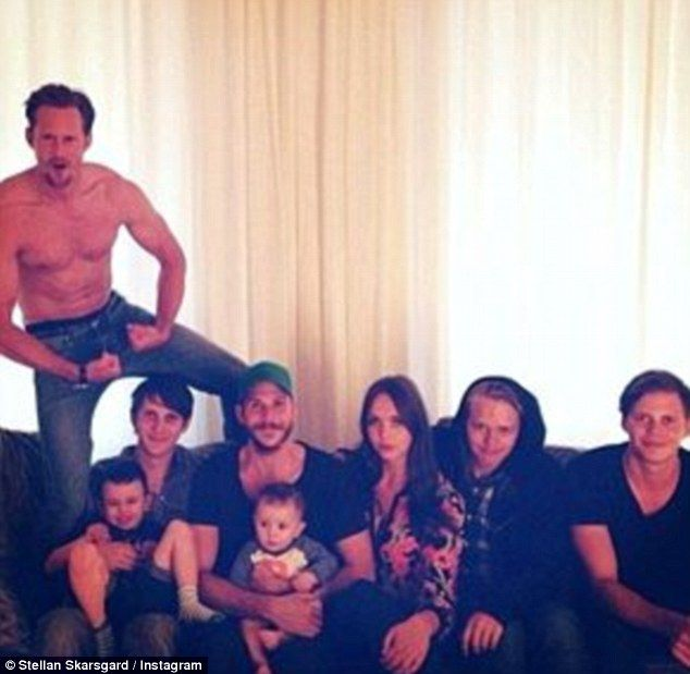 Good looking family: (L-R) Alexander previously posed shirtless with his siblings Sam, Gustaf, Eija, Valter and Bill
