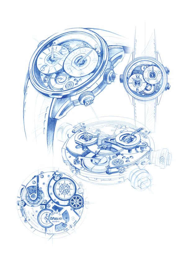 Breva Watch industrial design sketches