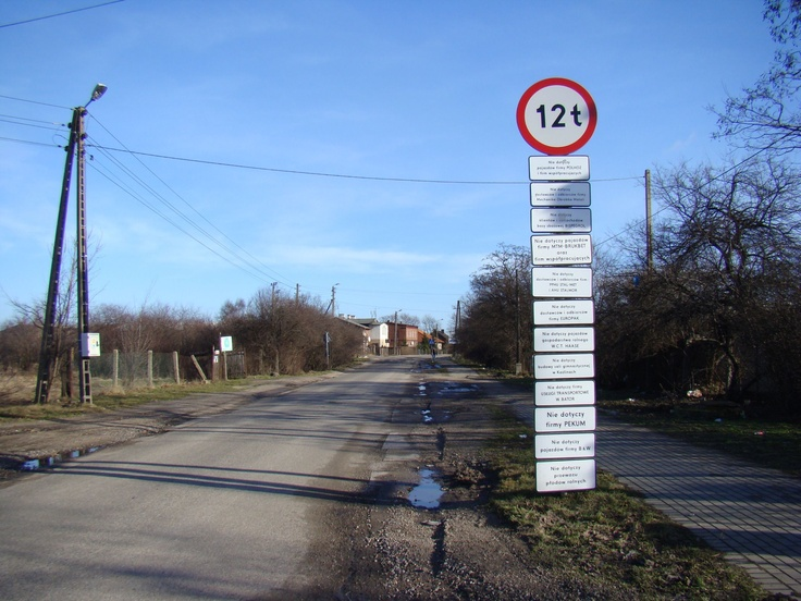 road sign in Pszczółki (Little Bees)