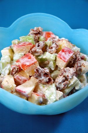 Waldorf Salad Recipe:  The original Waldorf salad (created in 1896 at the legendary Waldorf Astoria) contained only apples, celery and mayonnaise. As the dish grew in popularity, chopped walnuts became a standard embellishment.  This version adds a touch of sugar and nutmeg for extra depth of flavor.