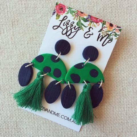 """""""MIMI"""" Tassel Earrings - Emerald Green & Navy"""