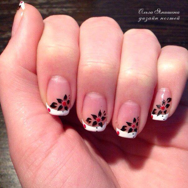 Французский маникюр #nail #nails #ногти #маникюр #рисунок #цветы #цветок #штампики #nailart #art #naildesign #design #nailstyle #style #flower #flowers #stamping