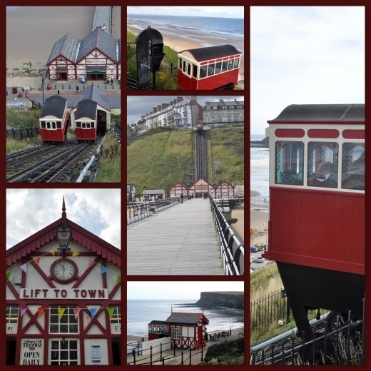 Victorian engineering, Saltburn's cliff lift.    Opened in 1884 this water powered funicular 'inclined tramway' has transported people 207 feet along a track, originally in wooden cars with stained glass windows, from the lower promenade to Marine Parade and the town 120 feet above at the top of the cliff.