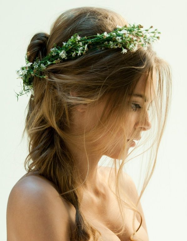 boho wedding hair: Weddinghair, Hairstyles, Wedding Hair, Babybreath, Flowers Crowns, Beautiful, Baby Breath, Hair Style, Floral Crowns