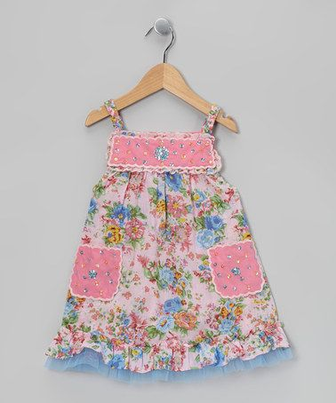 Take a look at this Pink & Aqua Rhinestone Scallop Dress - Toddler & Girls by Ma Petite Amie on #zulily today!