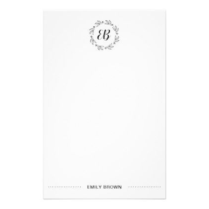 Black & White Simple Modern Monogram Stationery - business logo cyo personalize customize diy special
