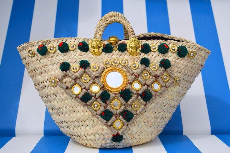 "Sicily Bag ""Claudia"" . Sicilian straw bag / coffa."