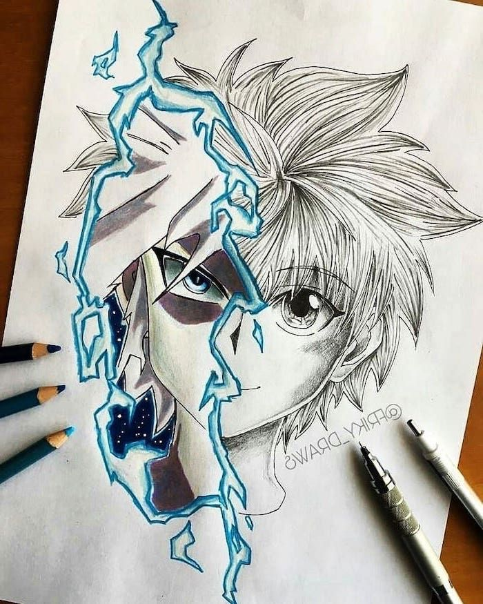 Black White Blue Pencil Sketch How To Draw Anime Step By Step In 2020 Anime Art Tutorial Anime Drawings Anime Character Drawing