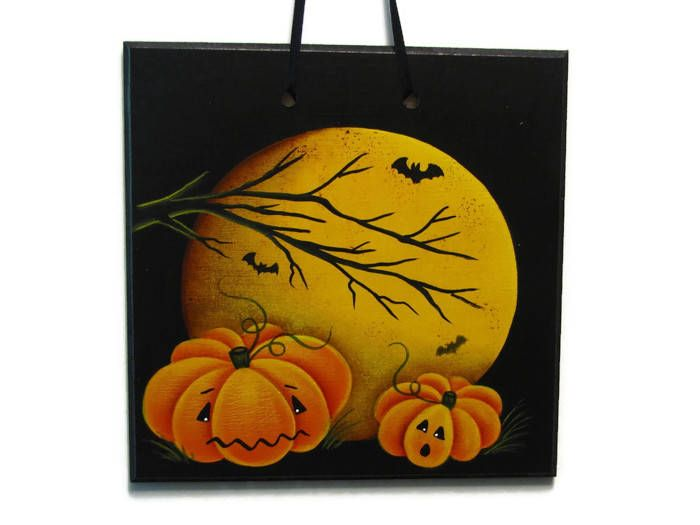Pumpkins in the Moonlight Handpainted Wood Sign, Hand Painted Halloween Home Decor, Wall Art, Tole Decorative Painting by ToleTreasures on Etsy