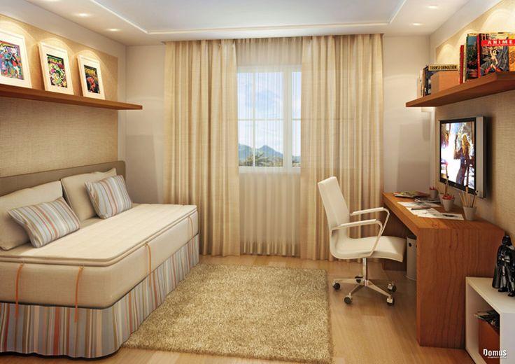 Saleta com sof cama decora o pinterest quartos for Sofa cama pequeno medidas