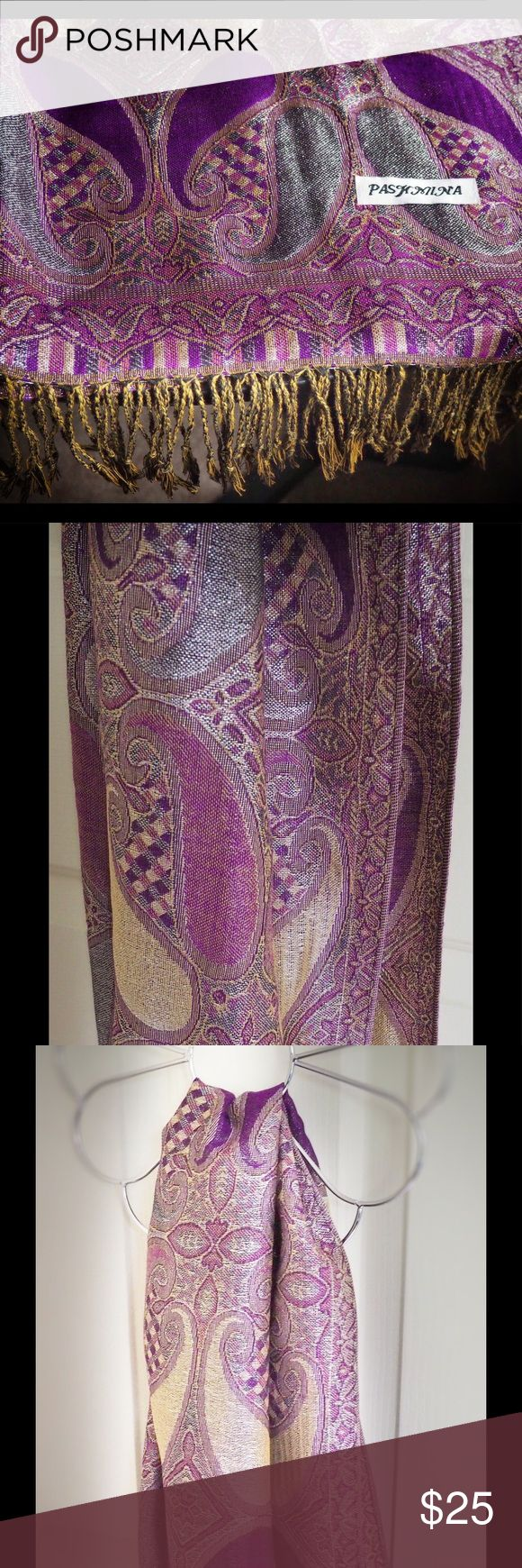 Pashmina purple, silver scarf Scarf, new, I never use it. Accessories Scarves & Wraps
