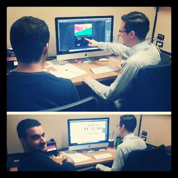 Round 2! Learning how to use #Adobe #Photoshop and #Illustrator with our Graphic designer Ryan Ahrens, grab your #HB2 pencil Jeremy!