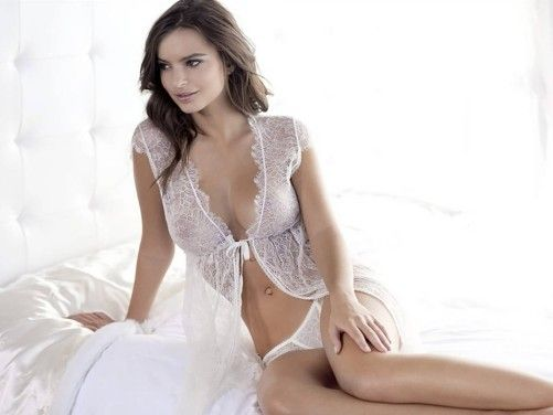Emily Ratajkowski In White Lingerie Christian Wall