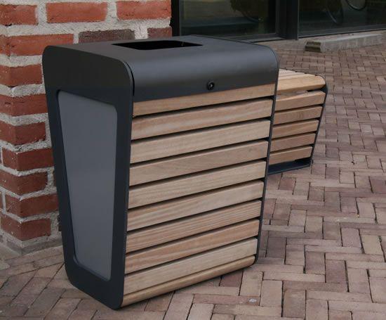 external bins   FalcoLinea steel litter bin with FSC-certified timber