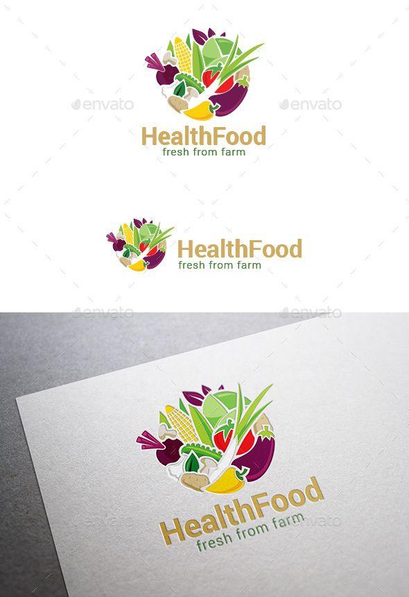 Circle Farm Eco Food Logo Vegetables - Food Logo Templates
