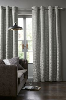 Woven Geo Jacquard Eyelet Curtains