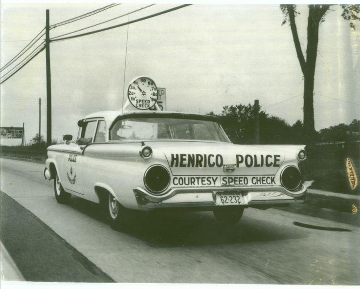 Speed Check police car 1959.  Henrico County, Virginia