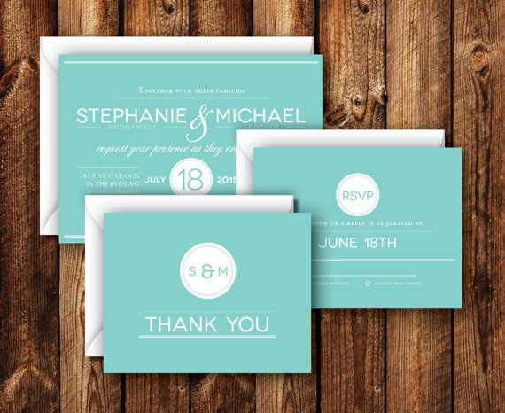 Modern Clean Contemporary Mint Green Blue Teal Turquoise Wedding Invitation Suite RSVP Reply Cards Thank You Cards Printable or Printed