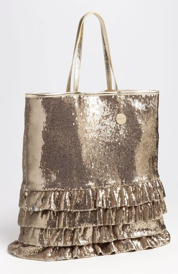 RED VALENTINO Sequin & Leather Trim Ruffled Tote Bag Gold $525  http://hollyrotic.mybigcommerce.com/red-valentino-sequin-leather-trim-ruffled-tote-bag-gold-525/