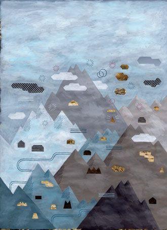 JOCHEN GERNER le Monde d'Hermès, 2013  acrylique sur support imprimé 30 x 29 cm (chaque dessin)