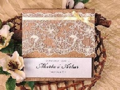 zaproszenia z koronka vintage koronkowe