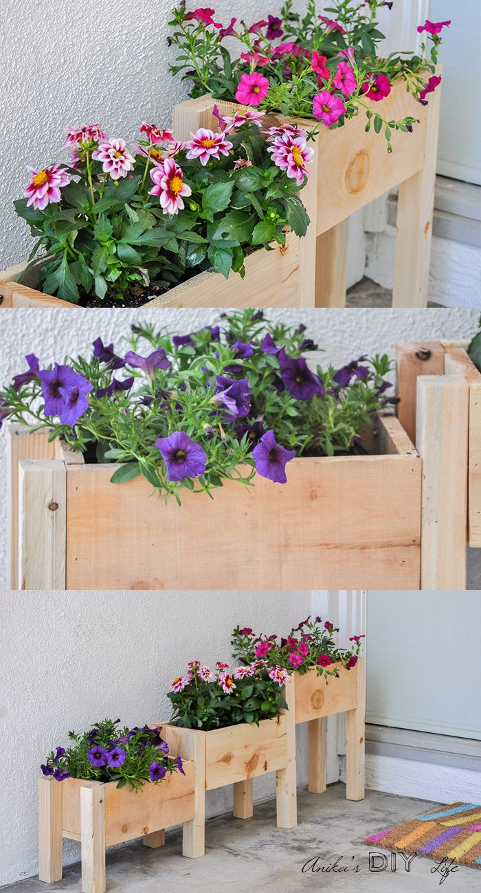DIY Tiered wooden planter tutorial with plans and video. It is the perfect addition to your front porch or backyard