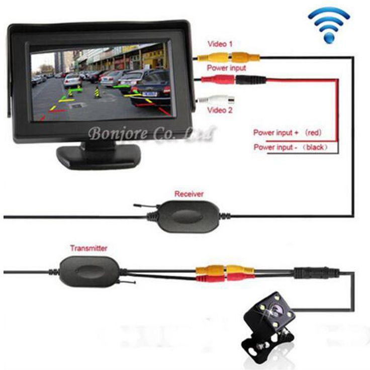 Aide au stationnement 2.4G Sans Fil 4.3 Pouce TFT LCD Miroir Moniteur avec vue Arrière de Voiture caméra de Recul Led de Vision Nocturne Capteur système
