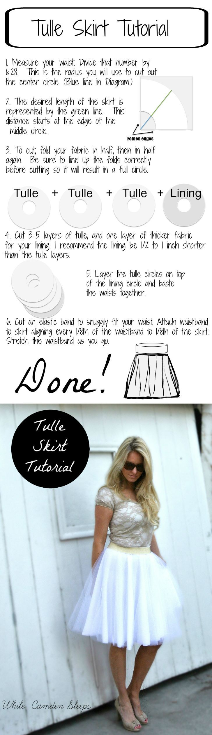 """The Lazy, or """"efficient"""" way to make a diy tulle skirt:"""