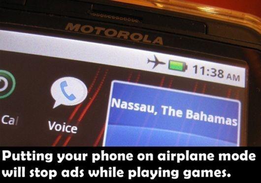Al activar el modo avión en su teléfono móvil podrá bloquear los molestos anuncios cuando juegas!