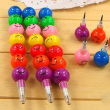 Smiley de dibujos animados de color lápiz mayorista 1 unids arco iris crayón Crayon lápiz de plomo Funny enfrenta lápices como los niños de dibujo técnicas(China (Mainland))