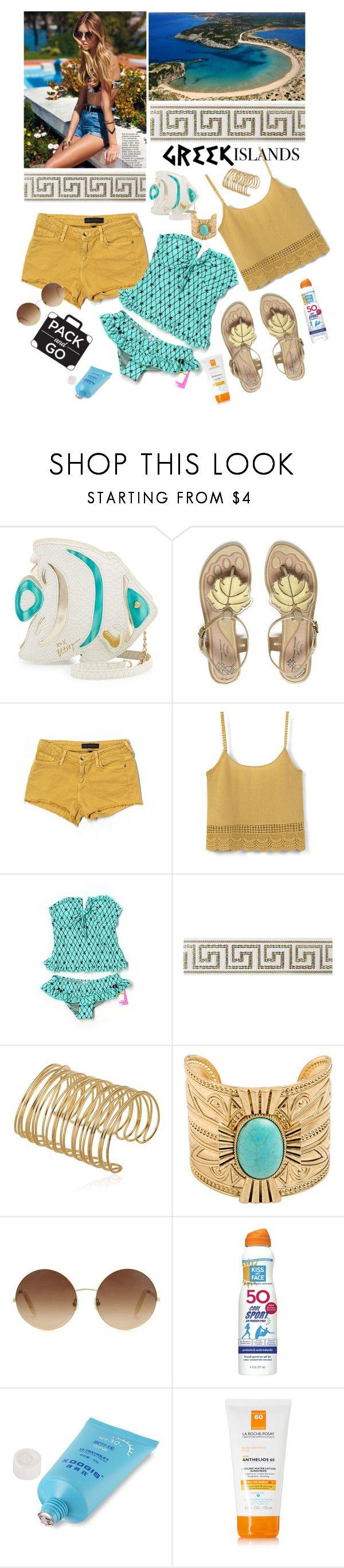 """Greek"" by hani-bgd ❤ liked on Polyvore featuring Betsey Johnson, Vivienne Westwood Anglomania + Melissa, Juicy Couture, MANGO, Costa, Victoria Beckham, Kiss My Face, La Roche-Posay, Packandgo and greekislands"
