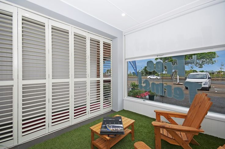 The Outdoor area in the Blinds For You Showroom boasts our beautiful Bermuda 2000 Bi-Fold Shutters