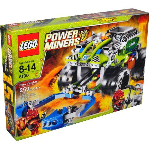 Lego Power Miners Series Vehicle Set #8190 – CLAW CATCHER with 2 Clamping Claws, Infernox Lava Monster and Power Miners Driver Minifigures (Total Pieces: 259)