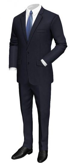 Regular fit blue suit in wool: Regular fit Notch lapel Side vents 4 Sleeve buttons Solid blue lining  http://www.tailor4less.com/en/collections/custom-suit/premium-suits-collection/regular-fit-blue-suit-in-wool