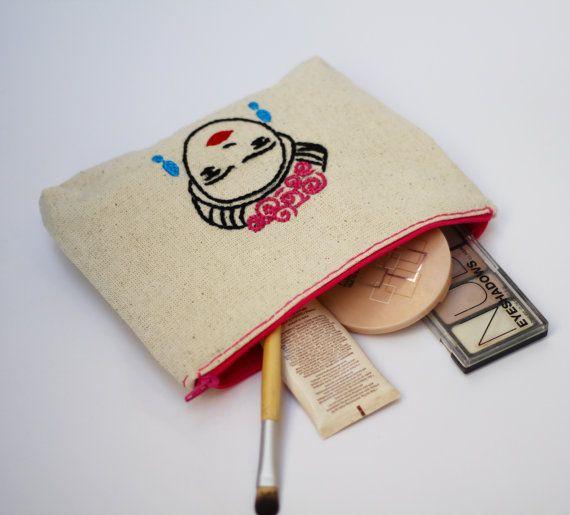 makeup bag / frida hand embroidery /bridesmaid gift /  by NIARMENA