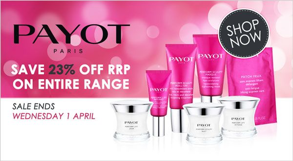 LOVE PAYOT skin care? Then you'll LOVE our 23% saving.  Offer ends Wednesday 1 April 2015  Shop PAYOT for great savings: http://www.absoluteskin.com.au/Payot-Skin-Care-Products-s/429.htm