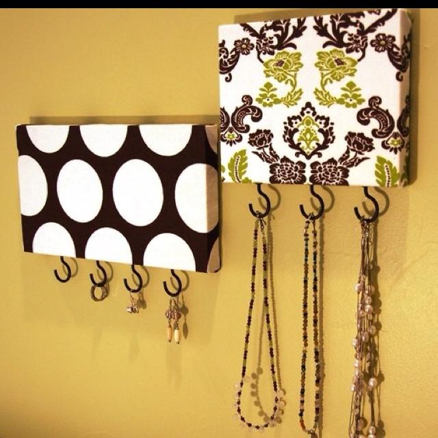 Jewelry Hangers, Wood Block, Add Hooks, Diy Jewelry, Key Holders, Scrapbook Paper, Canvas, Jewelry Holders, Keys Holders