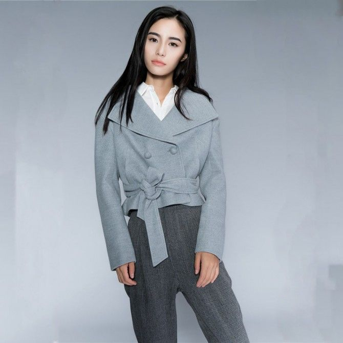 Hooded Cocoon Duffle Crop Coat With Oversize Lapel and Belt.