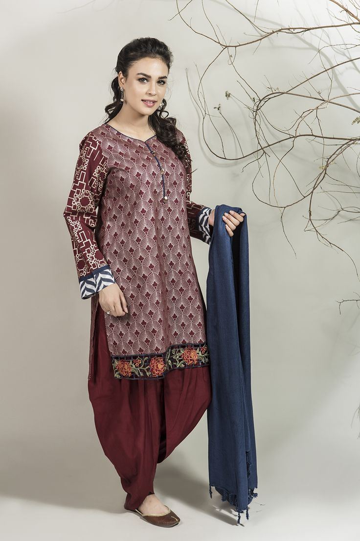 DW-1971 Maroon 3 PC - MARIA.B Winter Collection 2016