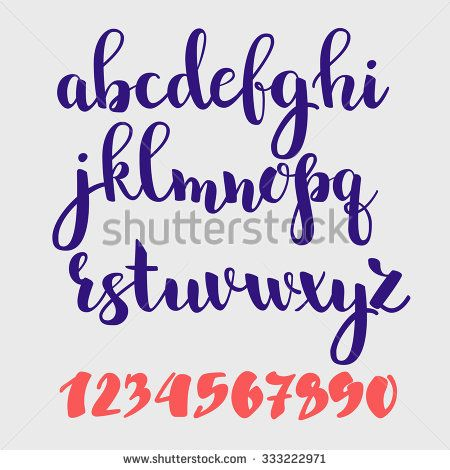 Brush style vector script alphabet calligraphy low case letters and figures. Brush style decorative letter graphic design. - stock vector